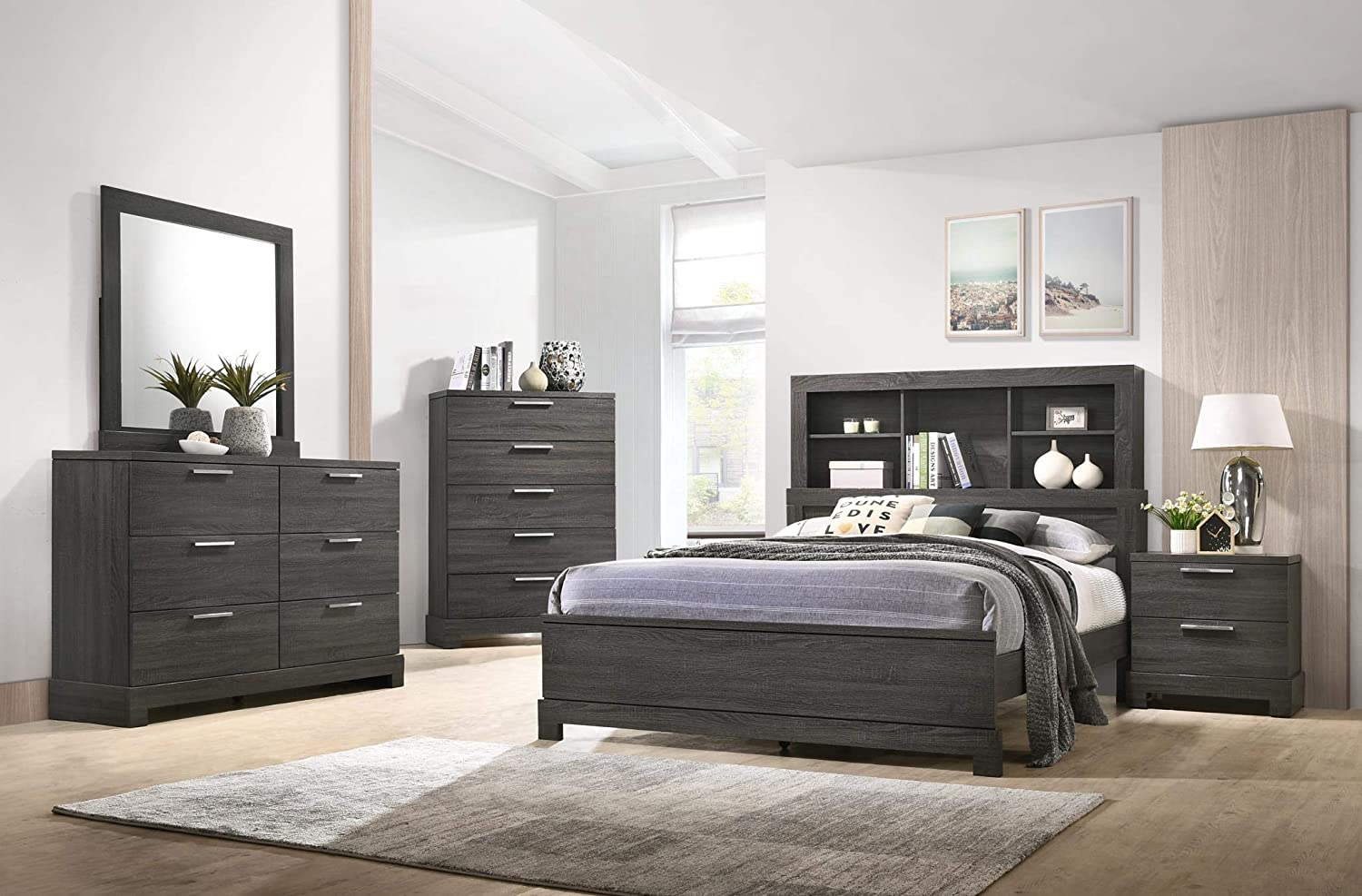 GTU Furniture Contemporary Bookcase headboard Bedroom Set (Queen Size Bed,  5 Pc)