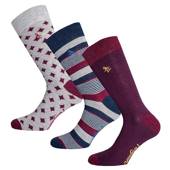 Original Penguin Mens Colorblock Dress Socks Burgundy One Size