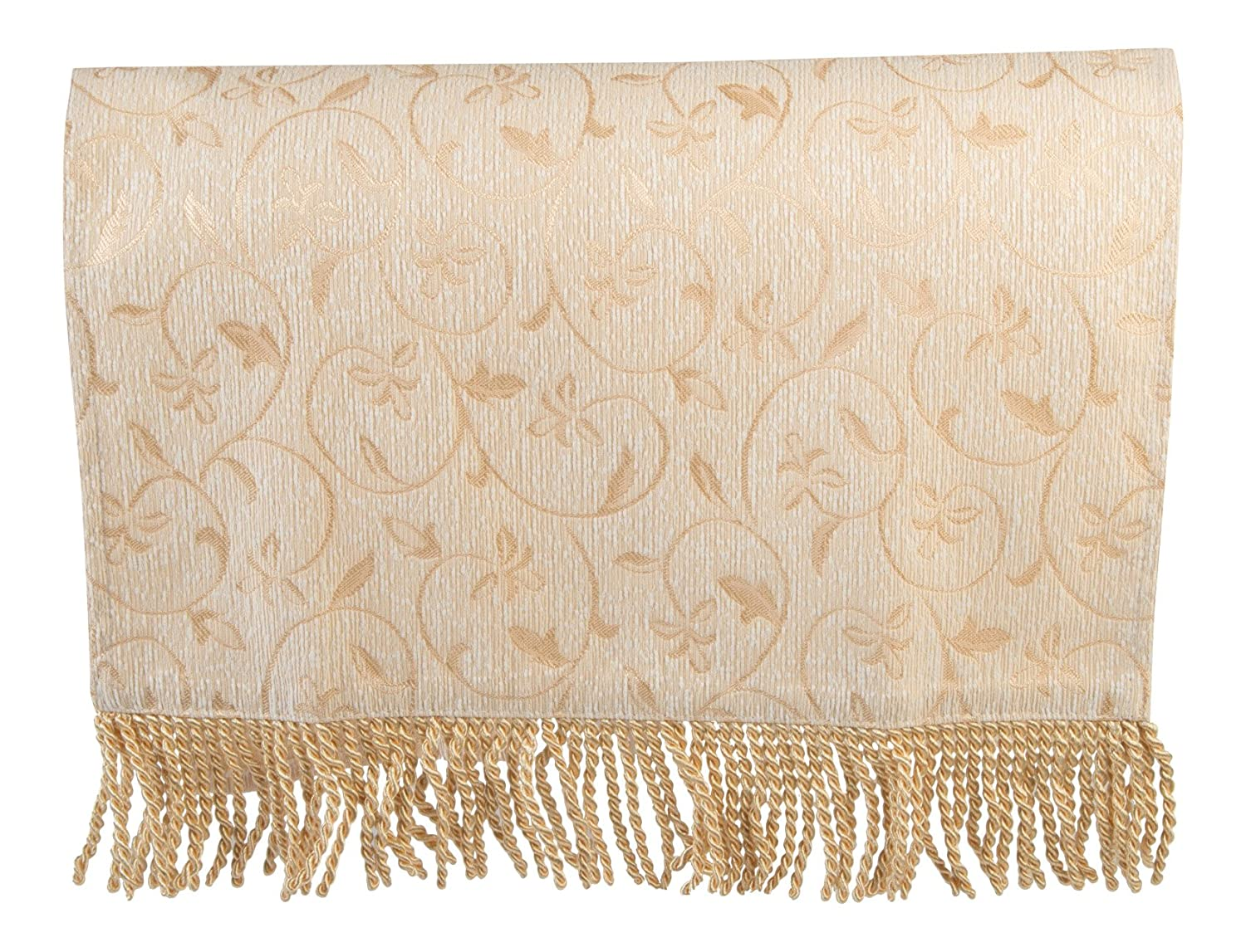Classic Home Store Traditional Single Chair Back Flower & Leaf Antimacassar Sofa Cover with Tassel Trim (Gold)