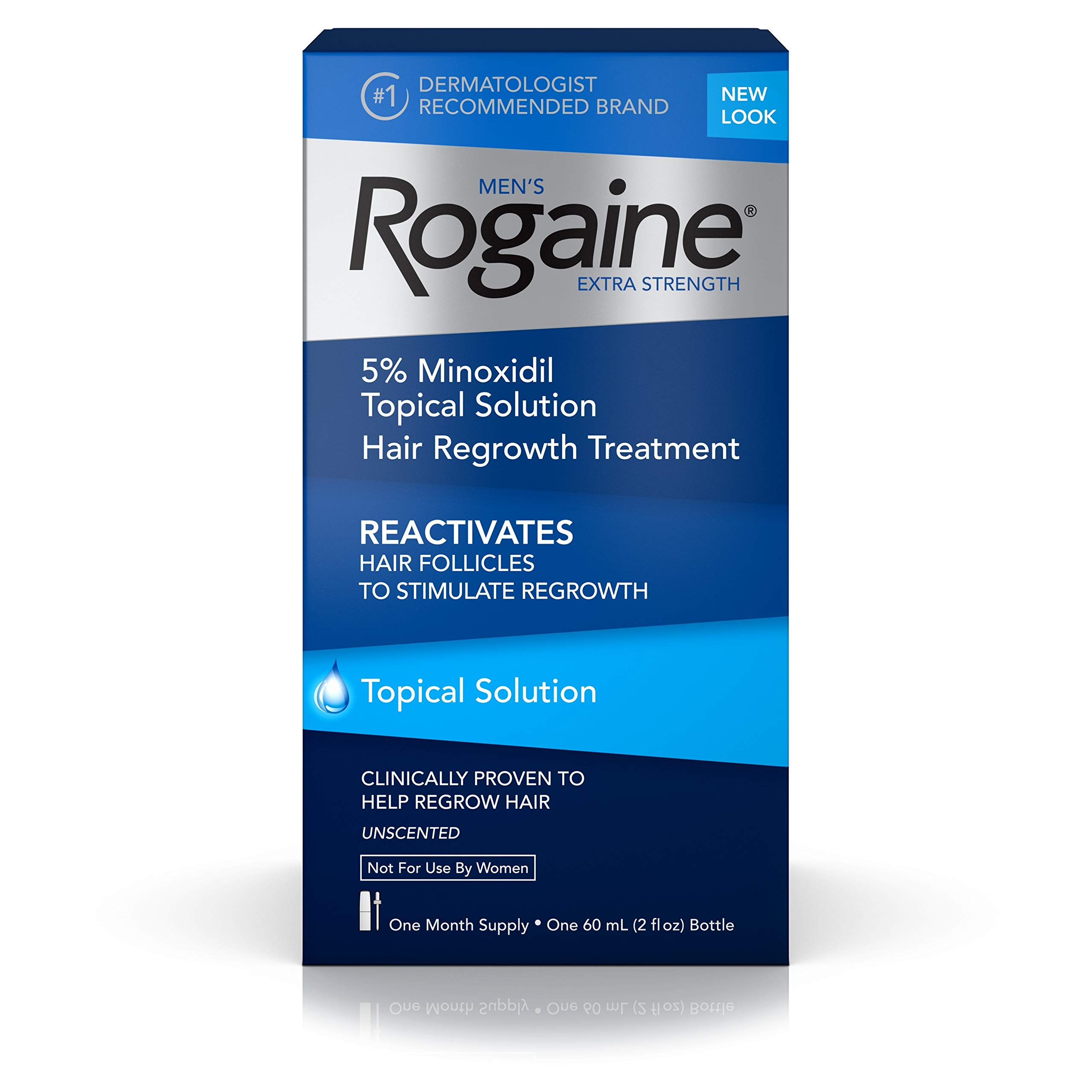 Men's Rogaine Extra Strength 5% Minoxidil Topical Solution for Hair Loss and Hair Regrowth, Topical Treatment for Thinning Hair, 1-Month Supply by Rogaine