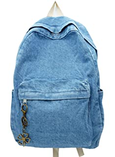 Yunzh Classic Retro Denim Bookbags School Bag College Jeans Backpack Casual  Backpacks (Lightblue) 5a768e53e7