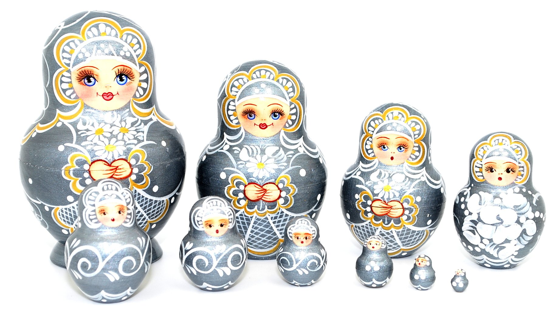 Unique Russian Hand Painted Handmade Silver Nesting Dolls Set of 10 Pcs Floral Artist Signed by GSZ (Image #5)