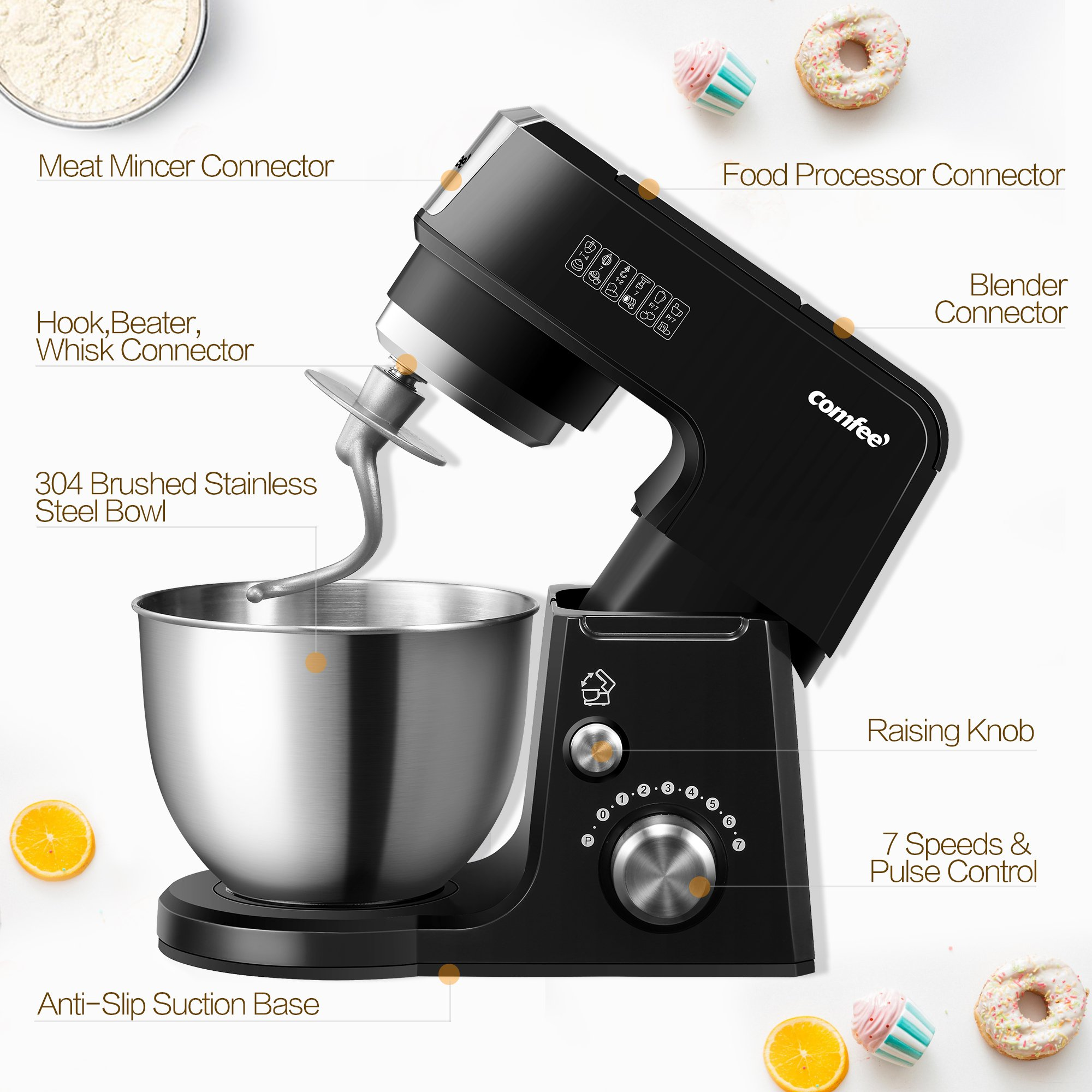 Comfee 2.6Qt Die Cast 7-in-1 Multi Function Tilt-Head Stand Mixer with SUS Mixing Bowl, Whisk, Hook, Beater, Splash Guard.4 Outlets, 7 Speeds & Pulse, 15 Minutes Timer Planetary Mixer (Black) by Comfee (Image #6)