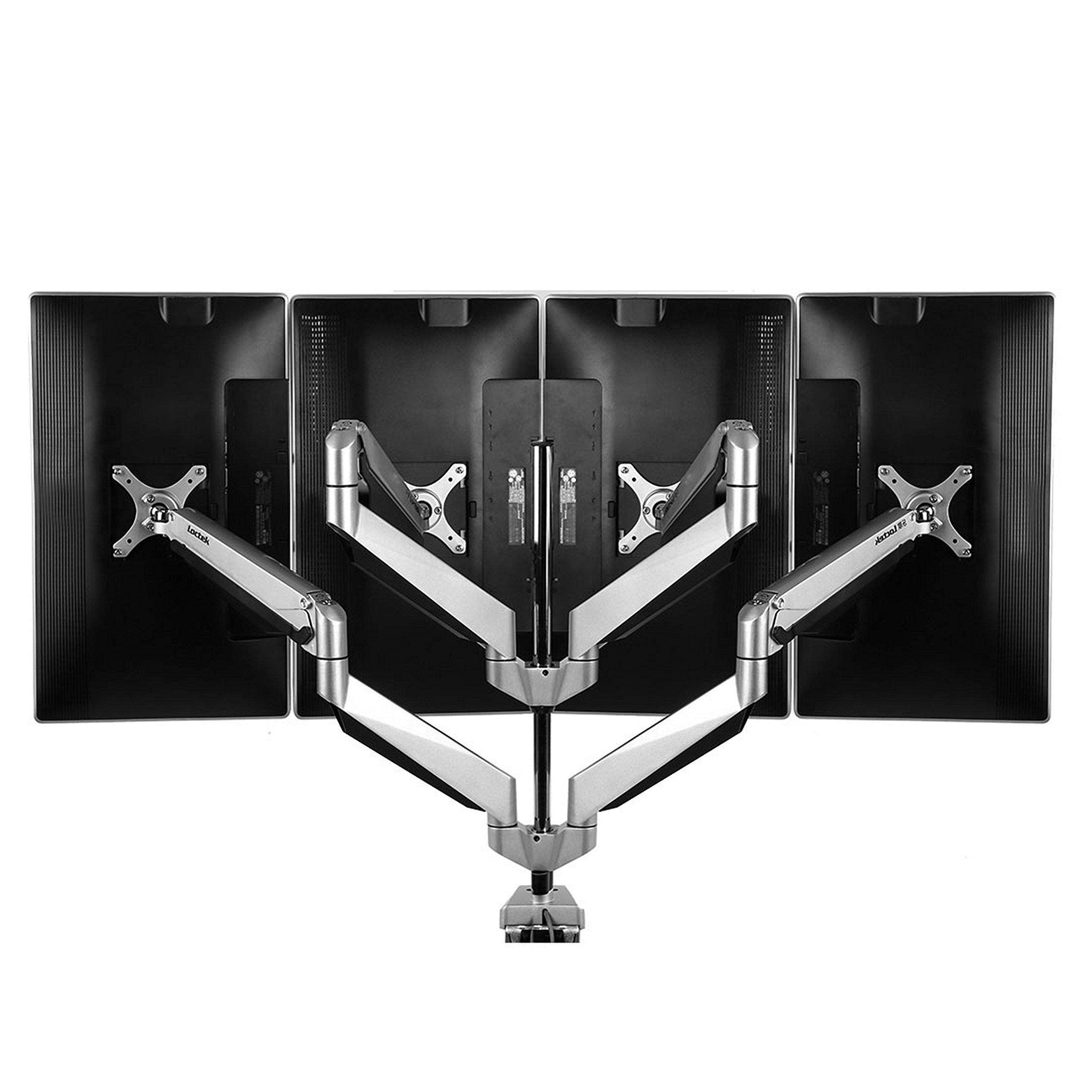 Loctek D7Q Swivel Quad Arm Monitor Mounts Stand for 10''-27'' Computer Screen, Ergonomic Heavy Duty Height Adjustable Desk Mount by Loctek (Image #1)