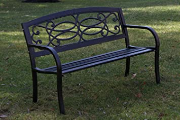Oliver Smith   Heavy Duty 51u0026quot; Wide Patio And Garden Outdoor Rustic  Black Cast Iron Part 90