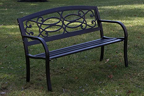 Oliver Smith   Heavy Duty 51u0026quot; Wide Patio And Garden Outdoor Rustic  Black Cast Iron