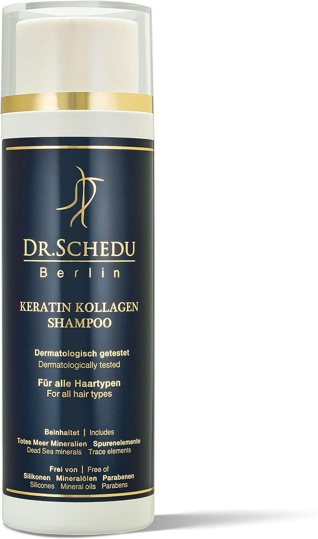 Dr. Schedu Berlin Champú de queratina y colágeno 200ml, contiene Minerales del Mar, Muerto Oligoelementos,sin silicona, made in Germany!