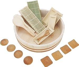 "BambooMN 14.2"" Sushi Oke Tub Hangiri with 19 Pieces Sushi Making Serving Accessory Kit"