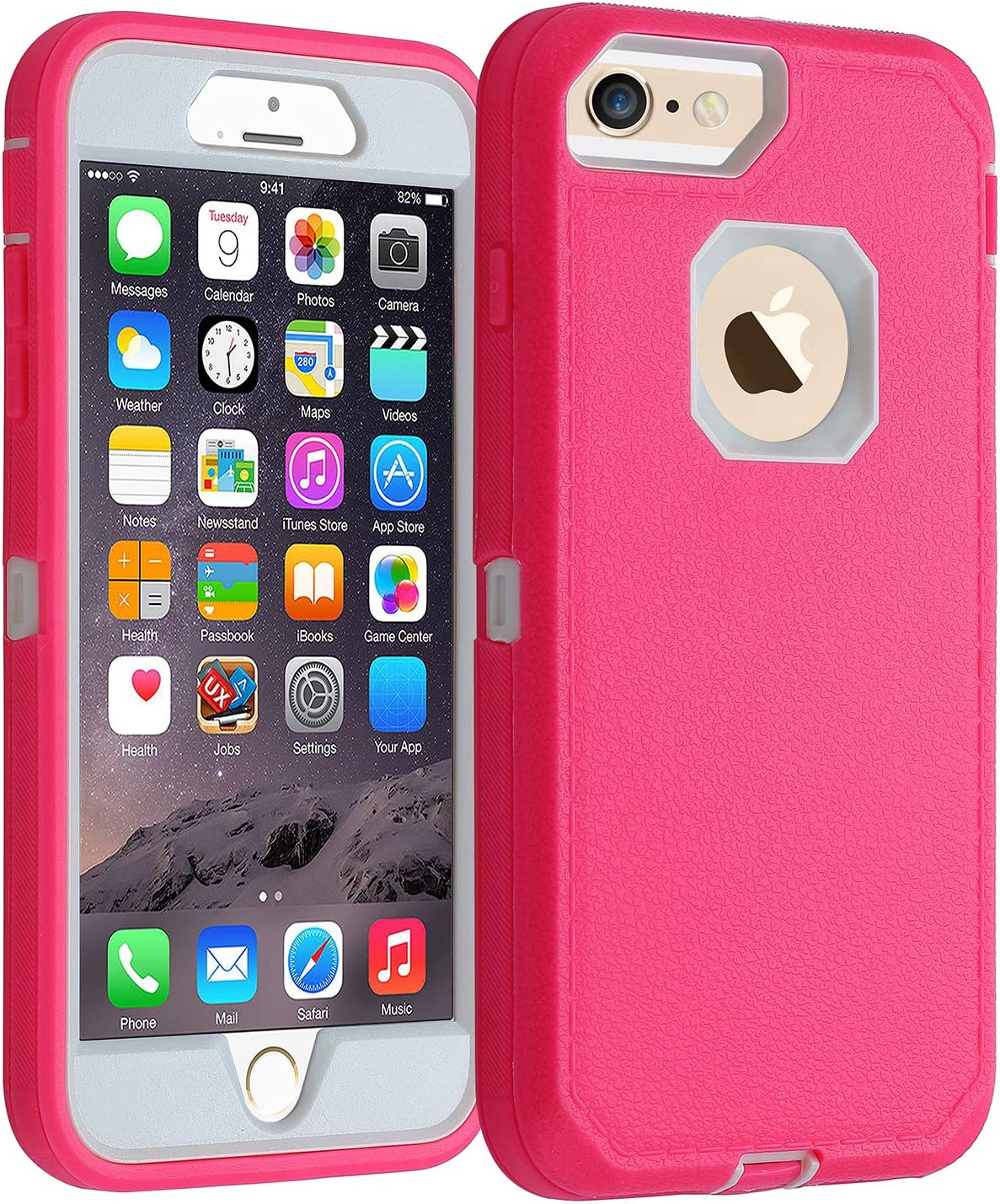 Co-Goldguard Case for iPhone 6/6s,[Heavy Duty] [Litchi Pattern Series] 3 in 1 Durable Cover with with Screen Bumper Shockproof Drop-Proof Shell Case for Apple iPhone 6/6s 4.7 inch (Pink&White)