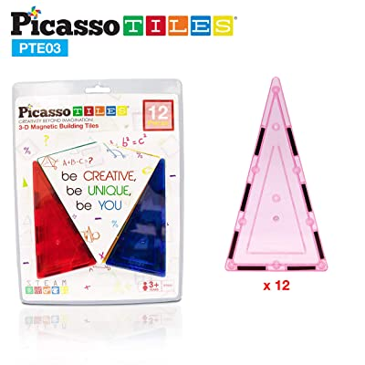 PicassoTiles 12pc Magnetic Building Block Set Isosceles Triangle Magnet Tiles Construction Toy STEM Learning Kit Educational Playboard Prek Pretend Play Stacking Blocks Child Brain Development PTE03: Toys & Games [5Bkhe0205566]