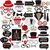 POPHEKO Wedding Photo Booth Props, 54pcs DIY Fun Mariage Photo Props sur Sticks Personalized Photo Booth Accessoires pour mariage Christmas Birthday Graduation Party-Package BOX mis à jour