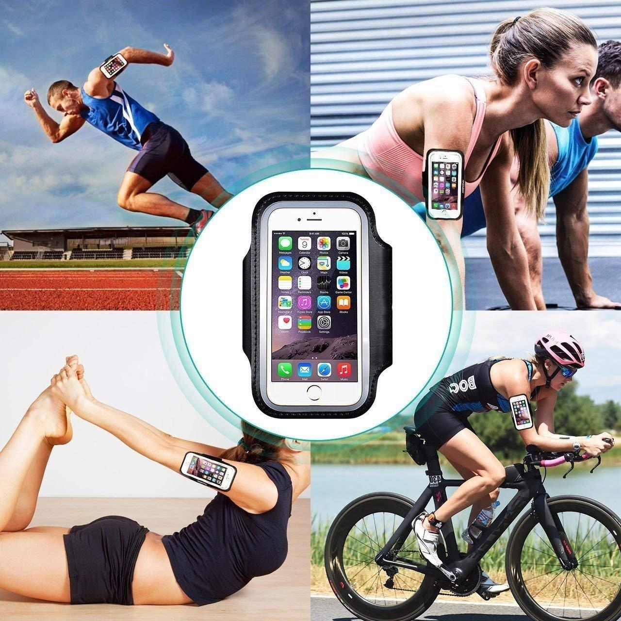 MiSha Marche Anti-Sueur,Id/éal pour Fitness Porte-Cl/és Brassard Sport pour Nokia 5 Jogging Bande r/éfl/échissante Trek Cyclisme Randonn/ée,Noir