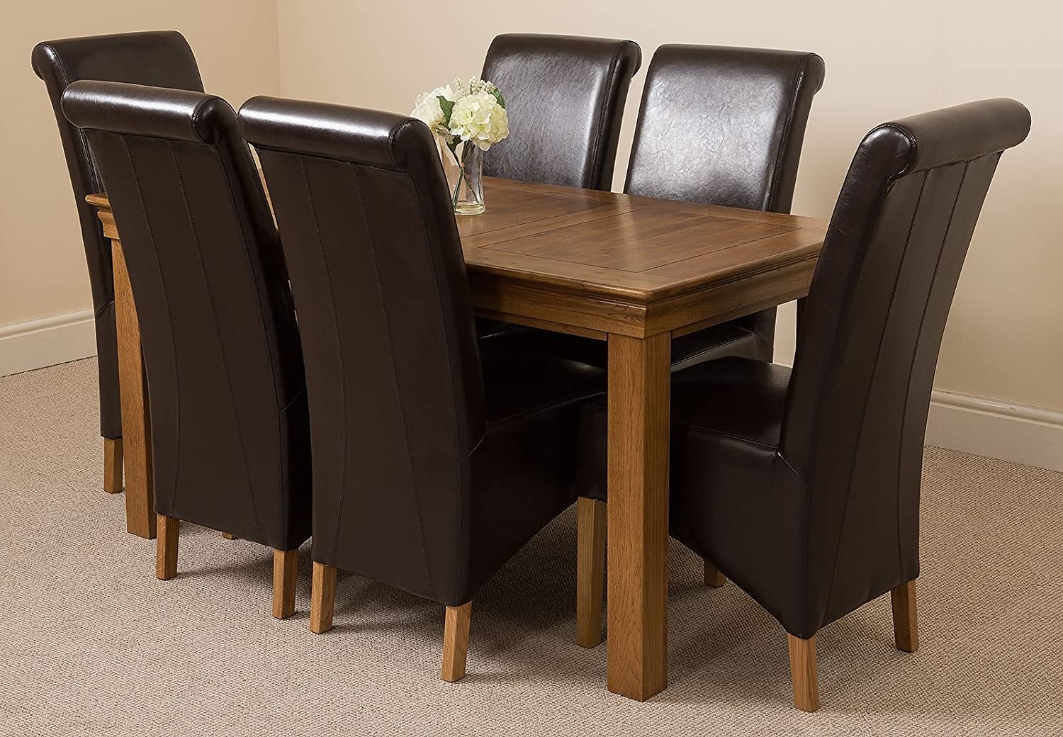 French rustic solid oak 150 cm dining table 6 brown montana dining chairs amazon co uk kitchen home