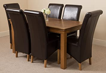 french rustic solid oak 150 cm dining table 6 brown montana dining rh amazon co uk