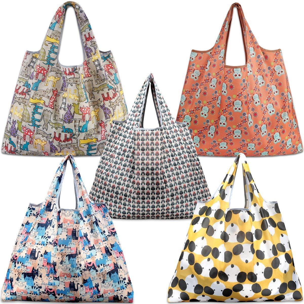 ea9ea39d36 Details about KINGMAS Reusable Grocery Bags, Set of 5 Eco-Friendly Folding Tote  Shopping Bag