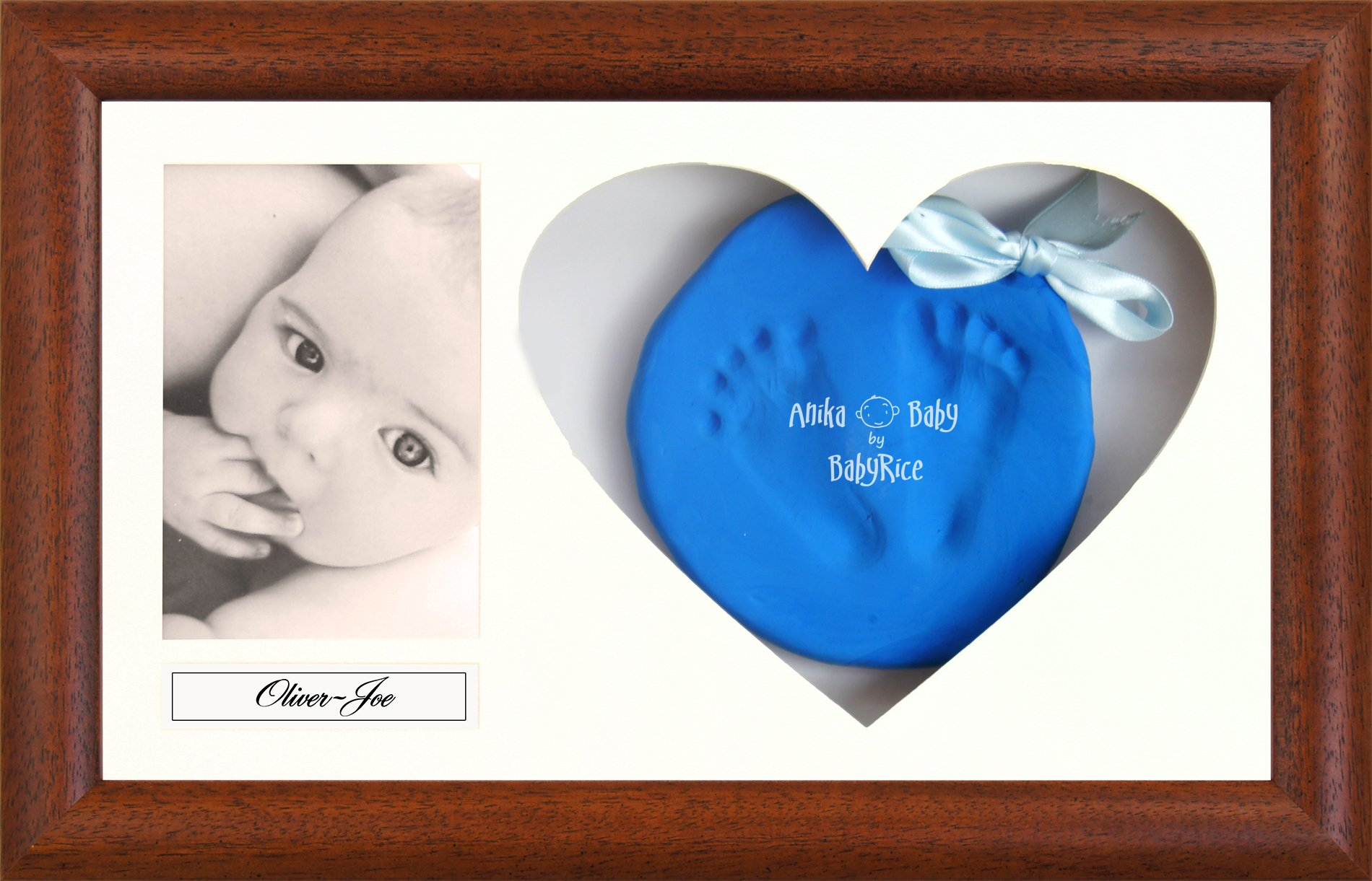 BabyRice Baby Soft Imprint Clay Hand & Footprint Kit / Dark Wood Effect Display Frame with Heart Mount - Choose Clay color (Royal Blue)