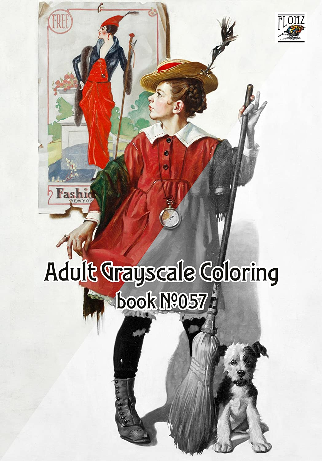 Funny Girls by Norman Rockwell FLONZ Vintage Designs for Grayscale Coloring 24 pages 8x11//A4 Adult Coloring Book