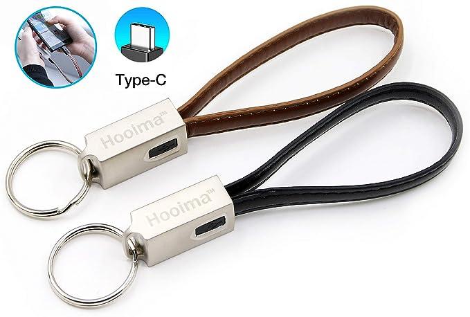 PowerOnKey - Cable USB C de piel para kaychain (2 unidades ...