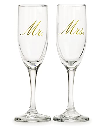 Mr Mrs Champagne Flutes Toasting Glasses Great For Wedding Gift By Nicole Jean
