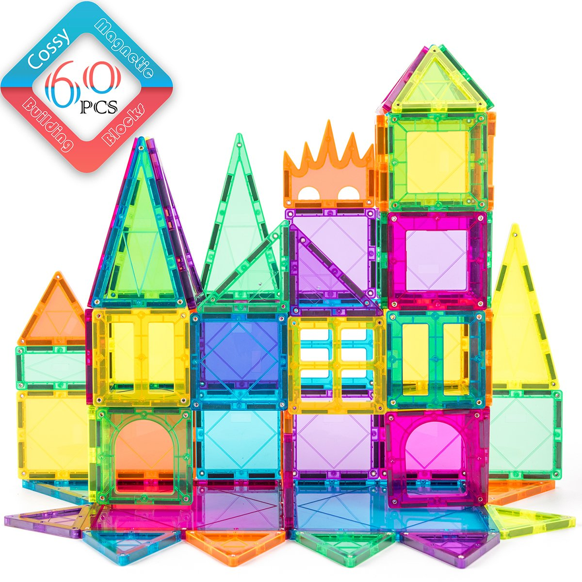 Cossy 60 Pcs Magnet Tiles Magnetic 3D Building Blocks Set Educational Construction Toys for 3+ year Kids with Stronger Magnets, Rivets-Fastened, Inspirational, Recreational, Educational, Conventional