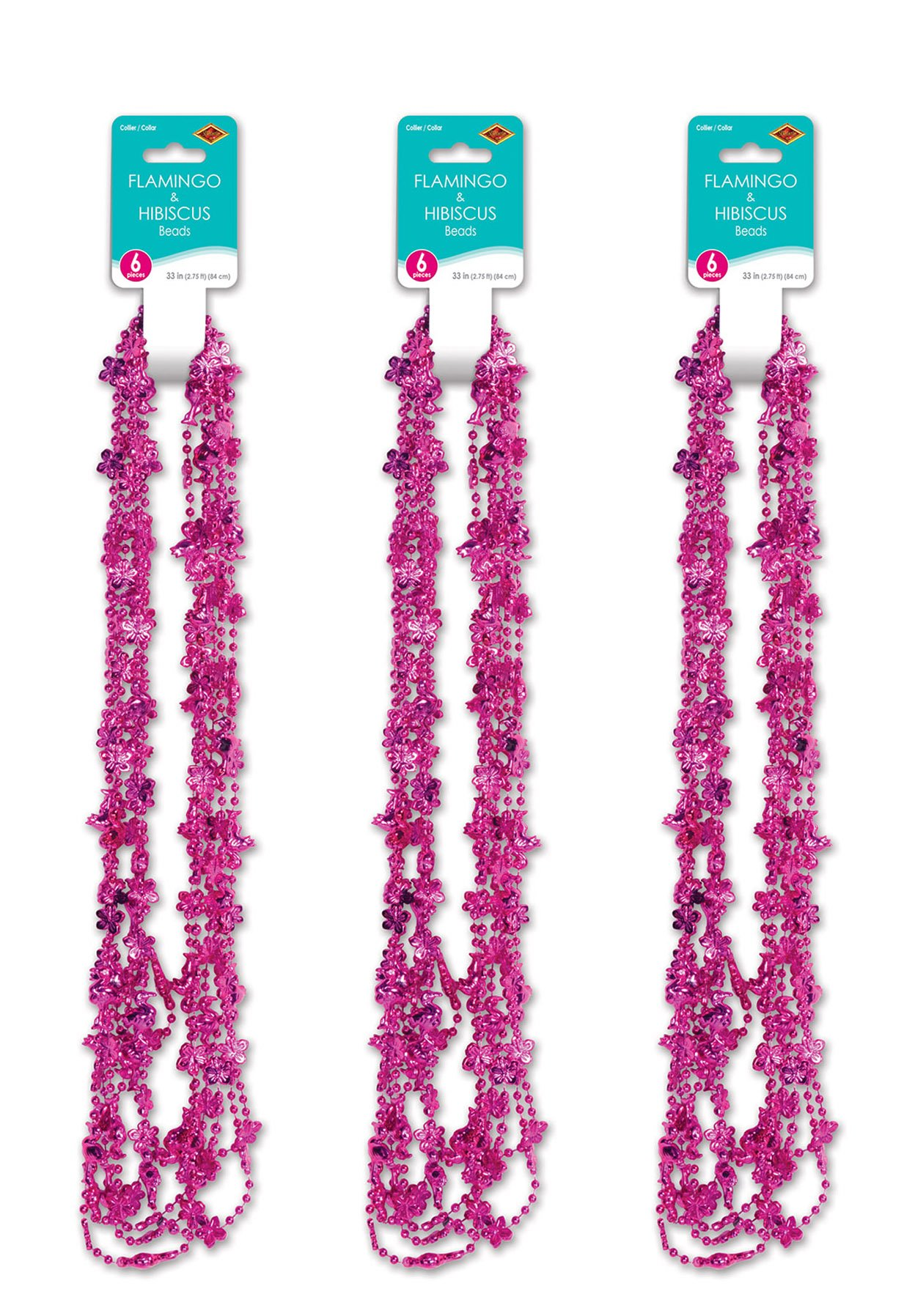 Beistle 52172 18 Piece Flamingo and Hibiscus Party Beads, 33'', Hot Pink