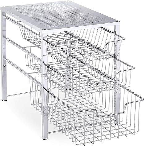 Silver Simple Trending Under Sink Cabinet Organizer with Sliding Storage Drawer Stackbale Desktop Organizer for Kitchen Bathroom Office