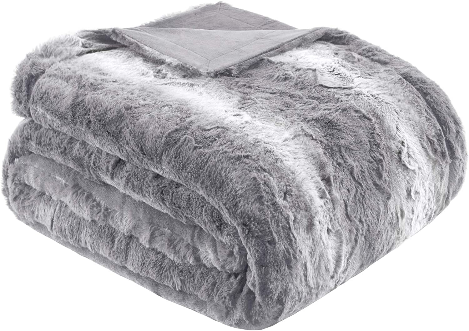 Madison Park Zuri Soft Plush Luxury Oversized Faux Fur Throw Animal Stripes Design, Mink On The Reverse Modern Cold Weather Blanket For Bed, Sofa Couch, 60x70, Grey