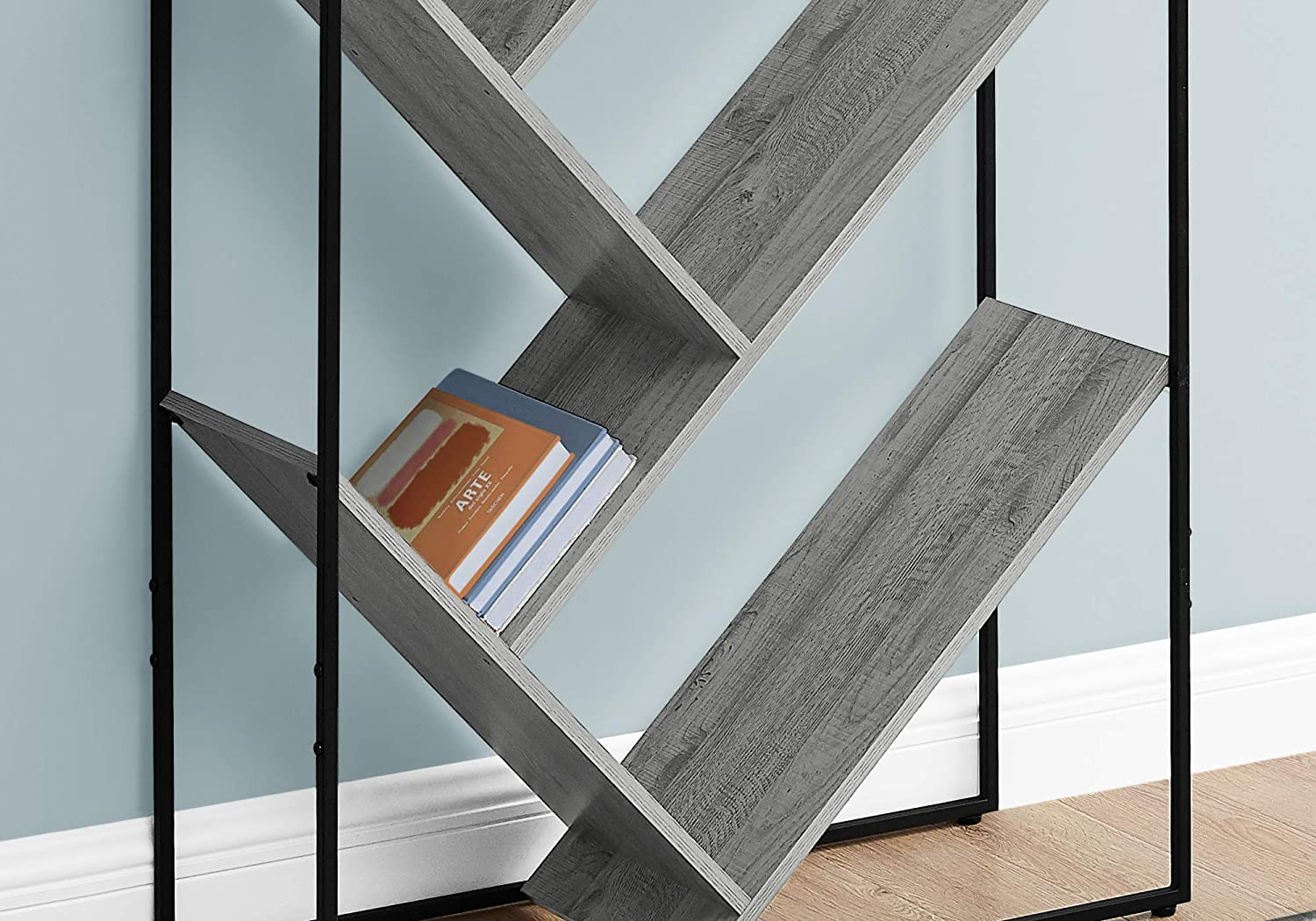 Grey Narrow Tall for Living Room Office or Bedroom Bookcase 60 H Monarch Specialties I 2200 Bookshelf Etagere with 5 Tier Open Shelves V-Shaped Storage