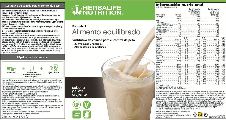 550 g Herbalife Formule 1 repas sain Biscuits /& Cr/ème