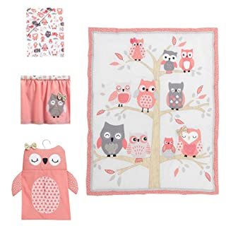 Lambs & Ivy Family Tree Coral/Gray/Gold Owl 4 Piece Crib Bedding Set