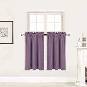"""Better Home Style 100% Blackout 2 Panels Tiers Window Treatment CurtainInsulated Drapes Short Panels for Kitchen Bathroom or Any Small Window M3036 (Purple, 2 Panels 28"""" W X 36"""" L Each)"""