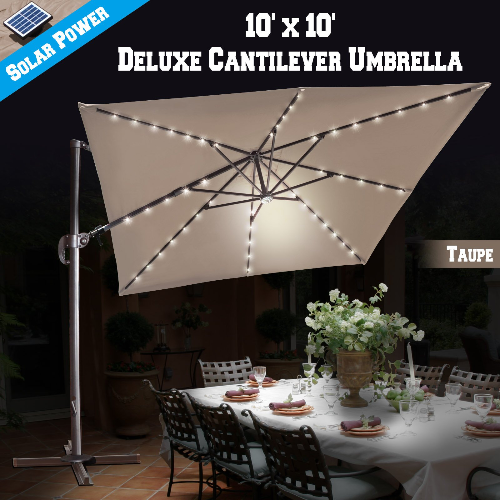 BenefitUSA 10'x10' Hanging Offset Roma Umbrella Solar Power LED Deluxe Outdoor Umbrella 360 Rotation Patio Sunshade Cantilever Crank with Protect Cover (Taupe)