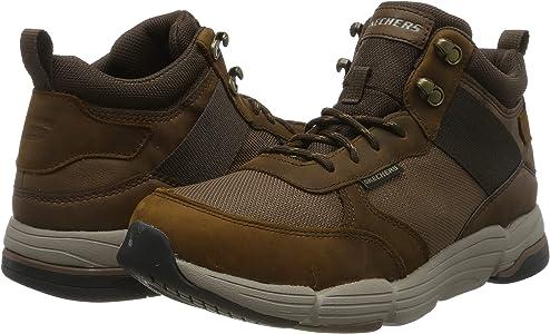 SKEAJ #Skechers Metco, Zapatillas Altas para Hombre, Marrón(Dark Brown Leather WMesh Cdb)) ,46 EU