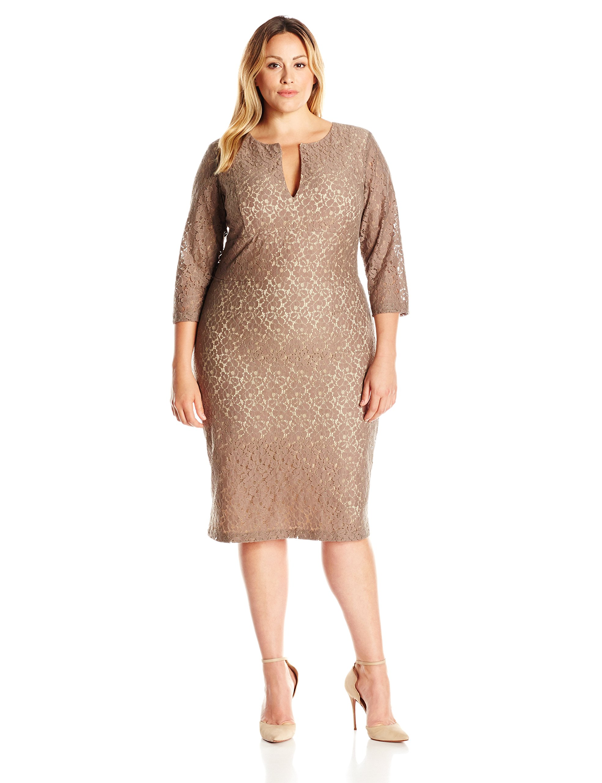 Single Dress Women's Plus Size Lace Meg Dress, Truffle/Nude Long Sleeve, 1X