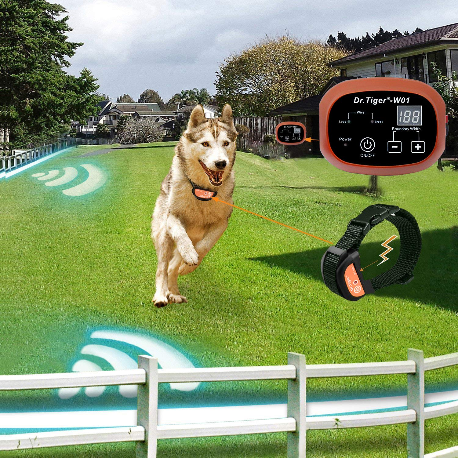 Suitable for Small Underground Fence Containment Systerm Equip Rechargeable Receiver Collar Best Pet Safety Solution Medium MASBRILL Electric Dog Fence Big Dogs