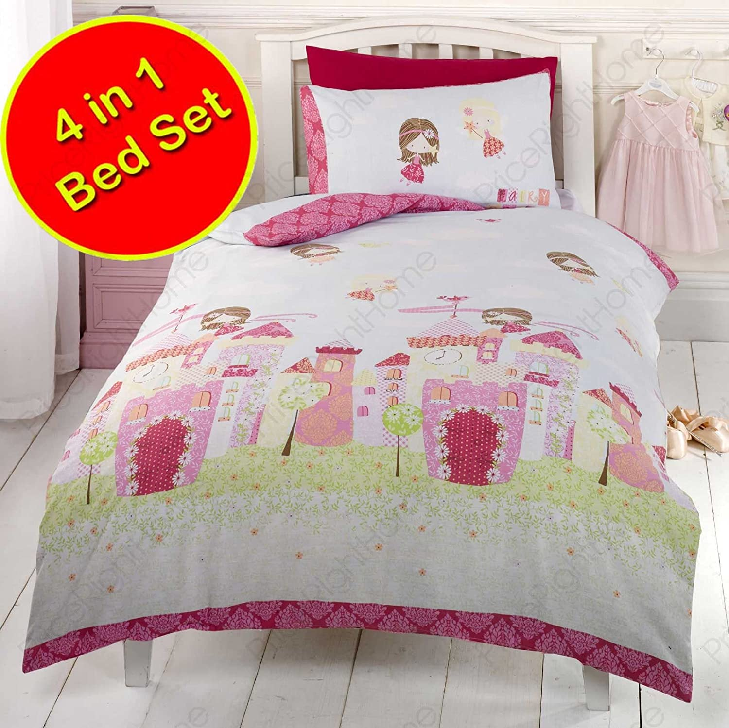 Rapport Fairy Castle 4 in 1 Junior Bedding Bundle (Duvet + Pillow + Covers)