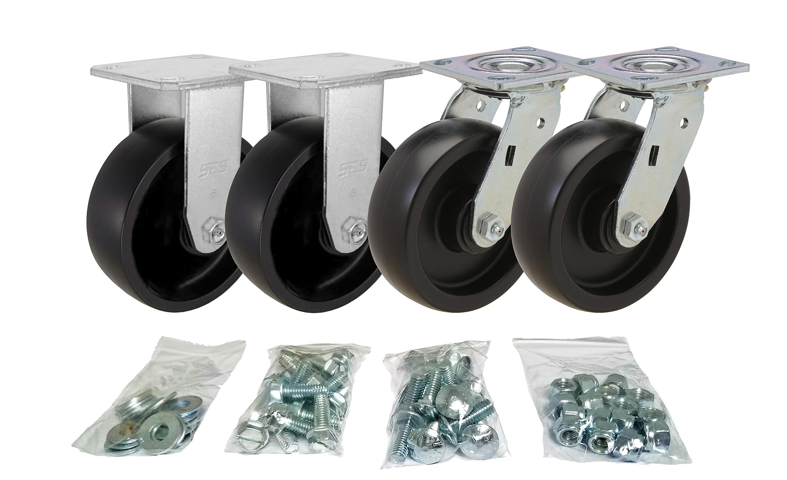 Toolbox Caster Set | 6'' for Greenlee, Knaack and Other Job Boxes | All Mounting Hardware Included