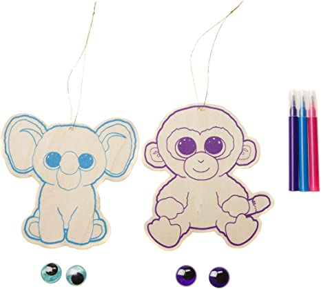 - Amazon.com: Darice, Ty Beanie Boo Color-in Elephant And Monkey Ornament Kit