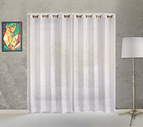 LE HYGGE White Sheer Window Treatment Panels for Kitchen, Bedroom and Living Room 55 x 95 inches Long