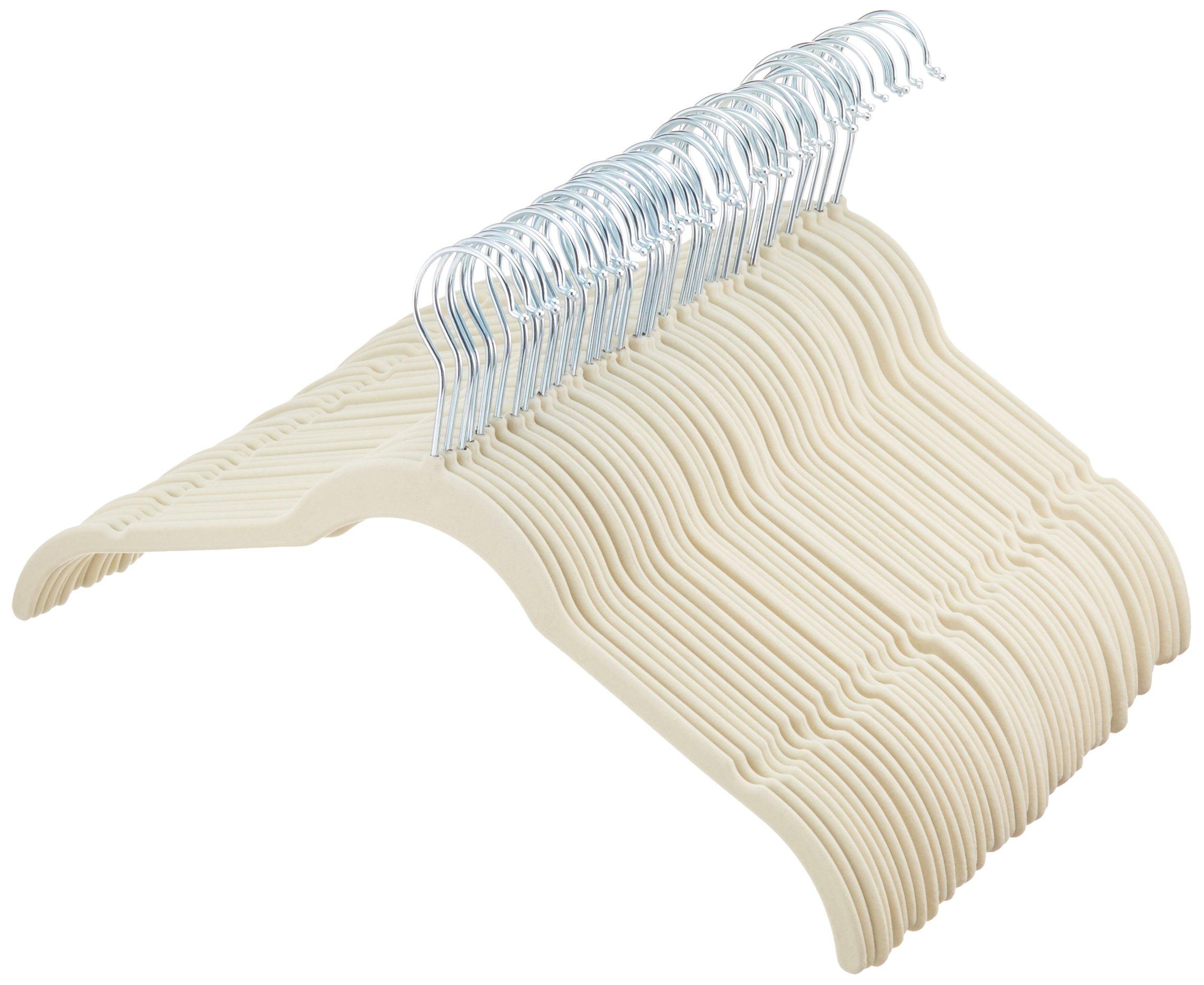 AmazonBasics - Perchas de Terciopelo para Camisas/Vestidos - Paquete DE 50, Marfil product