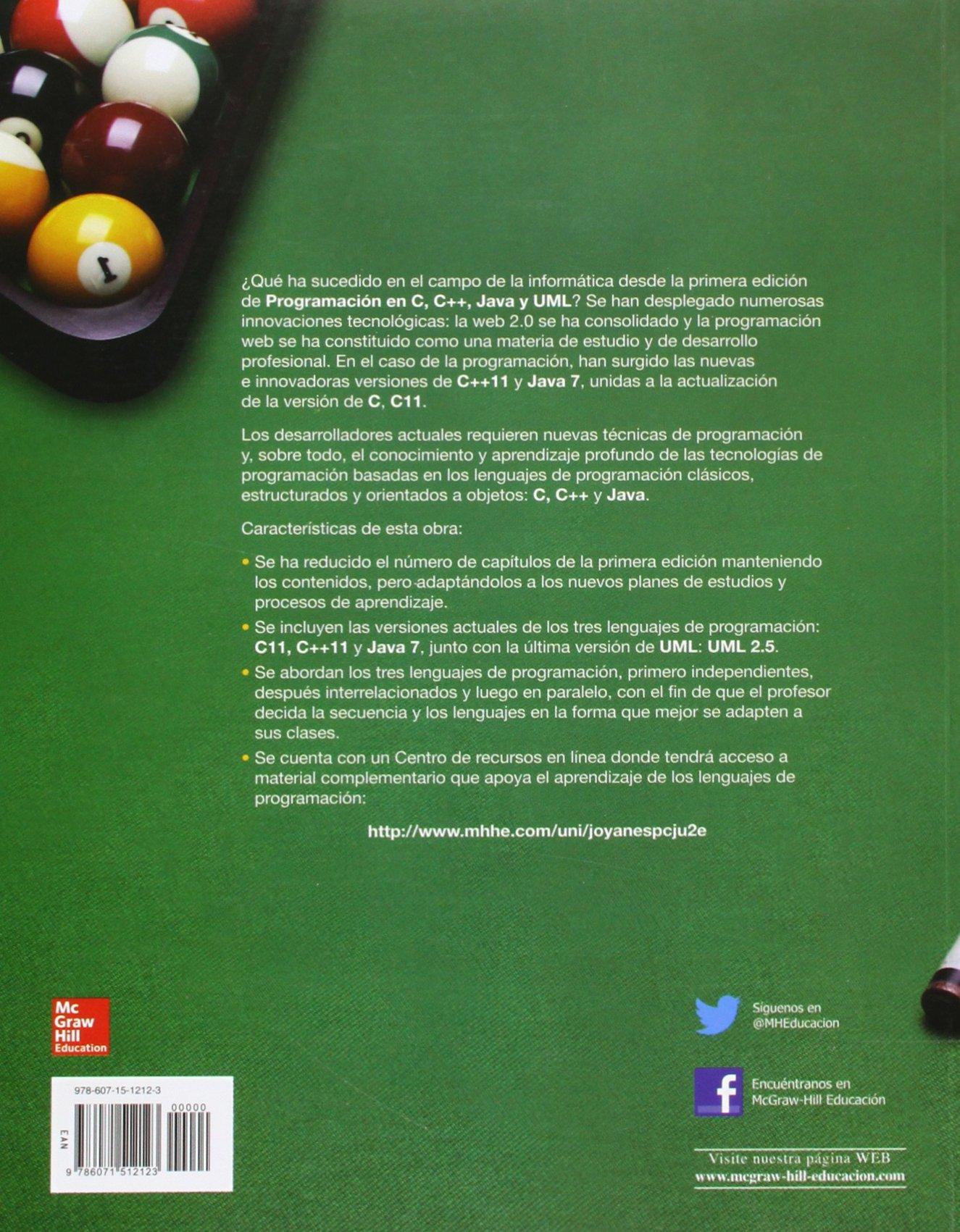 PROGRAMACION EN C, C++, JAVA Y UML: Amazon.es: Aguilar,Luis: Libros