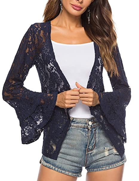 c9ec7300 Lace Cardigan Kimono Summer Outfit Beach Cover up Women Ruffle Sleeves  (Navy Blue)
