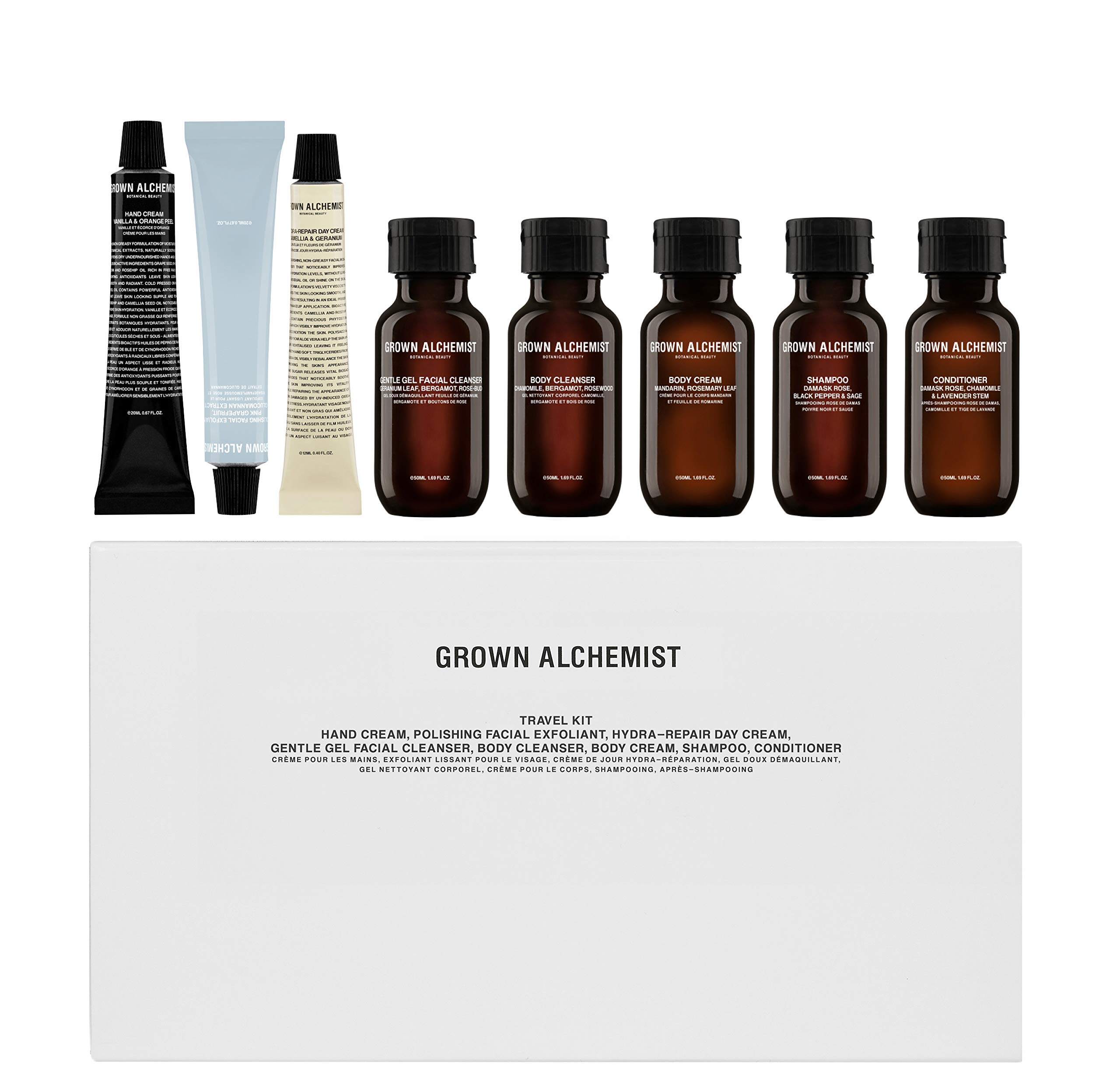 Grown Alchemist Travel Kit - 8 Piece Set for Face, Body and Hair Care
