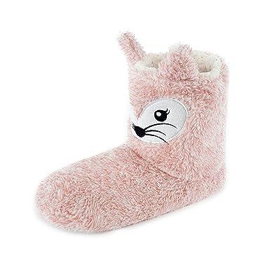 Damen Pelz gefüttert Hausschuhe Stiefel Charakter Koala & Fuchs - pink Fox,  ...
