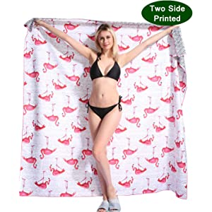 Flamingo Microfiber Beach Towel Blanket - Quick Fast Dry Sand Free Oversized Extra large Big Outdoor