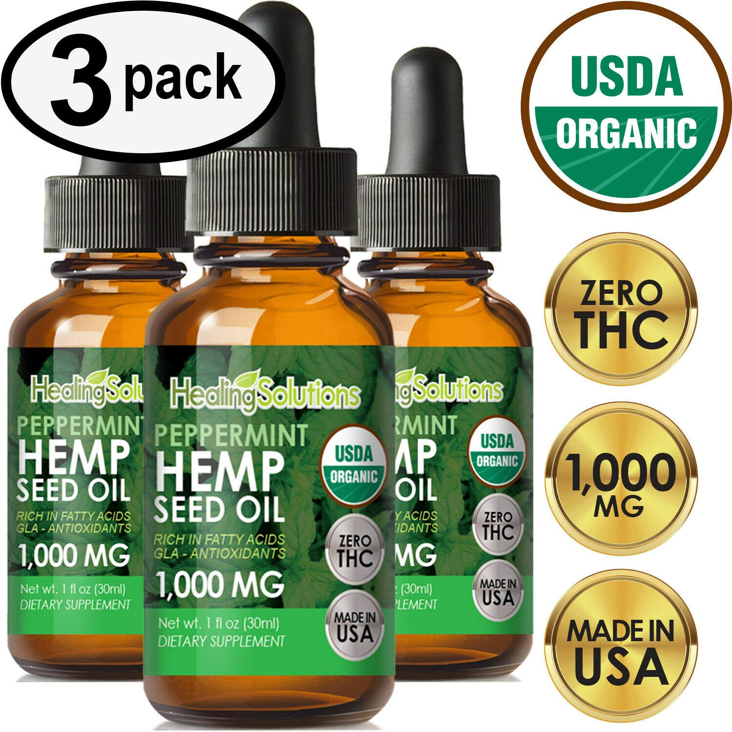 Peppermint Hemp Oil Extract for Pain Relief, Stress, Anxiety, Sleep 1000MG - (3 PACK)