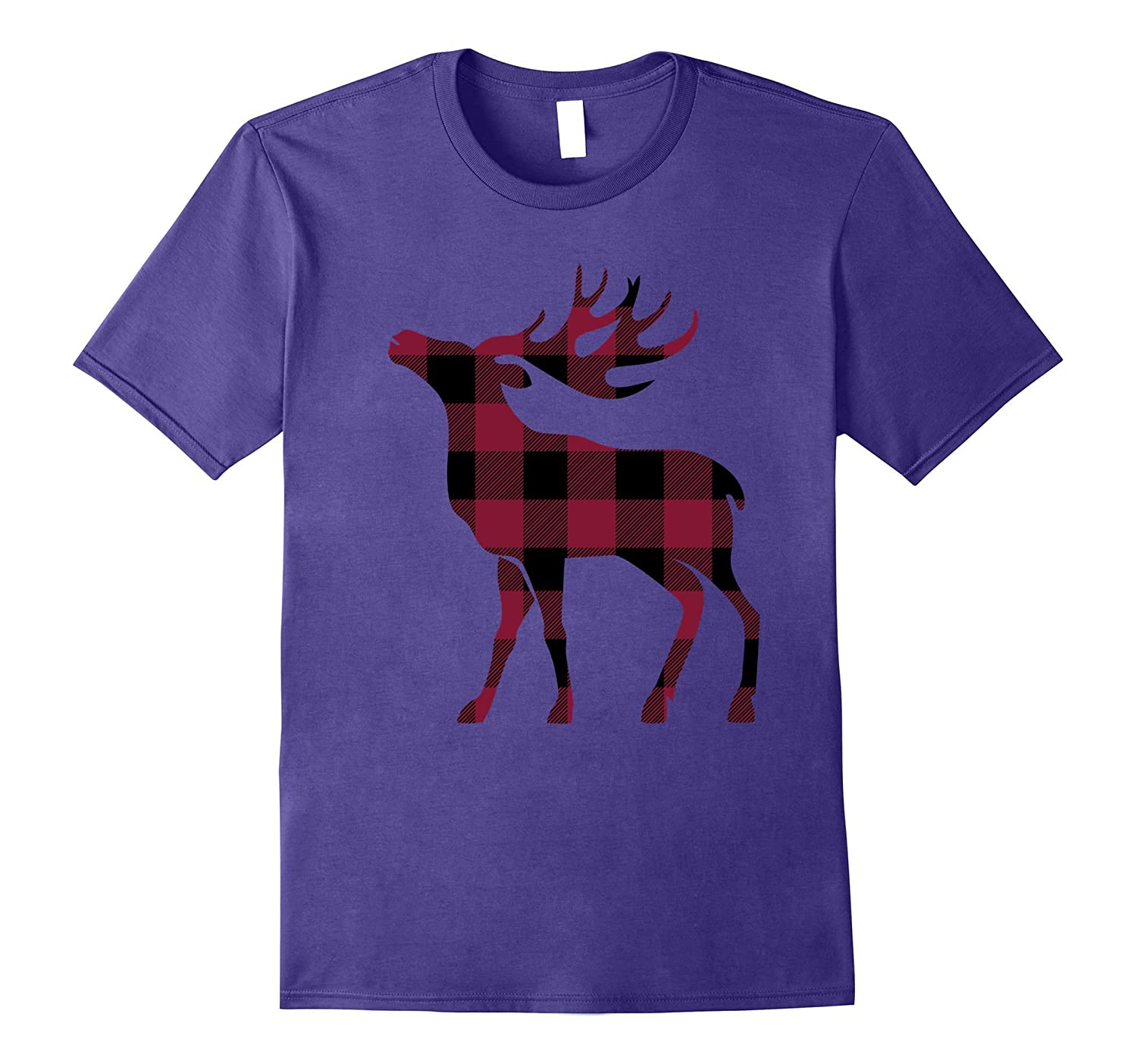 Mens Plaid Christmas T shirt Purple-Tovacu