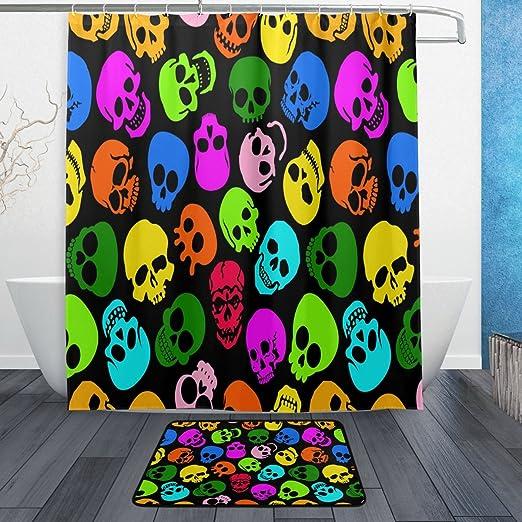 Halloween Golden Skull Shower Curtain Bathroom Waterproof Fabric 12 Hooks /& Mat