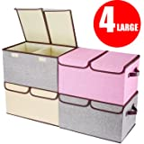 """Larger Storage Cubes, [4-Pack] Senbowe Fabric Foldable / Collapsible Storage Cubes Bin & Organizer Basket with Lid, Handles, Removable Divider For Home, Office, Nursery, Closet - (17.7 x 11.8 x 9.8"""")"""