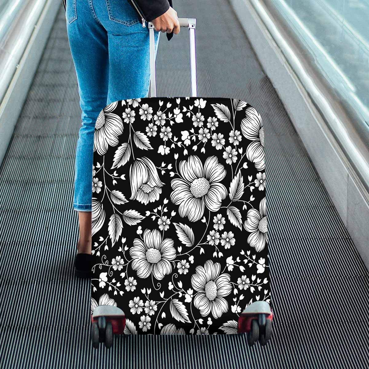 INTERESTPRINT Travel Luggage Cover Suitcase Protector Fit 18-28 Inch Black and White Floral Pattern